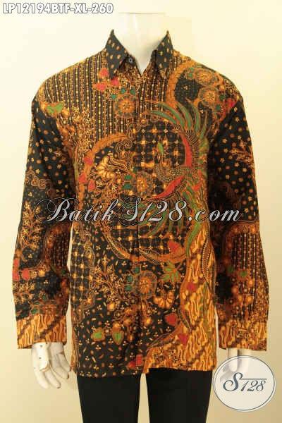 Baju Batik Acara Resmi Pria Model Lengan Panjang Motif Elegan Jenis Kombinasi Tulis, Kemeja Batik Pria Dewasa Full Furing Tampil Mewah Dan Mempesona Hanya 200 Ribuan Saja [LP12194BTF-XL]