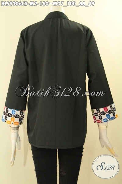 Blouse Batik Modern Untuk Wanita Muda Tampil Bergaya, Desain Cardigan Rompi Paduan Batik Dan Kain Polos Toyobo Kwalitas Istimewa Lengan 7/8 Hanya 100 Ribuan [BLS9306C-M]