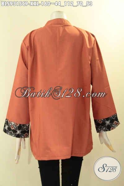 Baju Batik Wanita Gemuk Nan Istimewa, Hadir Dengan Model Cardigan Rompi Kombinasi Kain Toyobo Lengan 7/8, Pas Banget Untuk Kerja Dan Acara Resmi [BLS9315C-XXL]