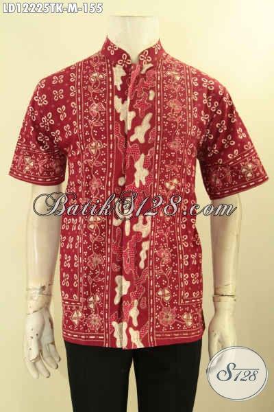 Hem Batik Kerah Koko Atau Shanghai Model Lengan Pendek Motif Bagus Warna Merah Jenis Tulis, Bisa Buat Ngantor Tampil Gagah Menawan [LD12225TK-M]