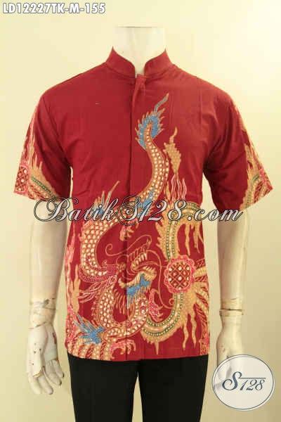 Juakl Online Kemeja Batik Pria Lengan Pendek Nan Modis Desain Kerah Koko/Shanghai Kwaliltas Bagus Warna Merah Motif Naga Proses Tulis, Tampil Istimewa Hanya 155K [LD12227TK-M]