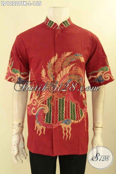 Toko Baju Batik Pria Online Koleksi Terlengkap, Sedia Kemeja Batik Kerah Shanghai Mofis Modis Warna Merah Motif Terbaru Jenis Tulis, Tampil Tampan Menawan [LD12229TK-L]