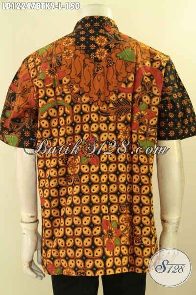 Baju Batik Acara Resmi, Kemeja Batik Lengan Pendek Untuk Kondangan Bahan Halus Motif Klasik Kombinasi Tulis, Menunjang Penampilan Makin Sempurna [LD12247BTK-L]