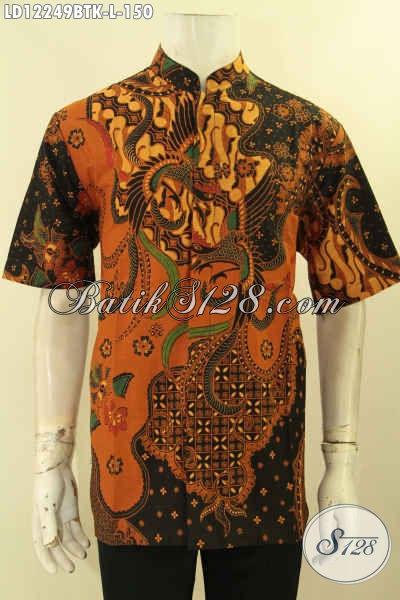 Sedia Kemeja Batik Kerja Model Kerah Shanghai, Pakaian Batik Koko Modis Motif Elegan Klasik Kombinasi Tulis  Lengan Pendek, Cocok Juga Untuk Kondangan [LD12249BTK-L]