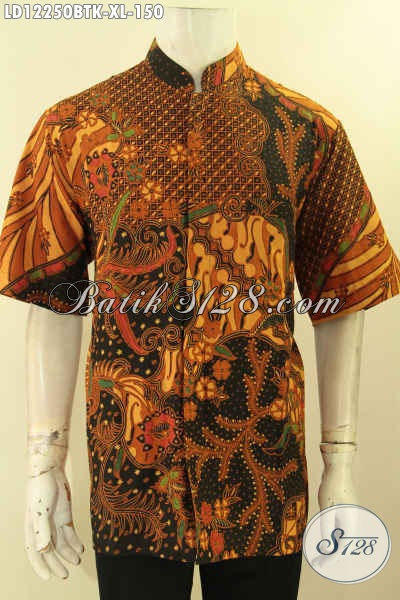 Kemeja Batik Pria Masa Kini, Jual Busana Batik Solo Jawa Tengah, Pakaian Batik Modern Terbaik Lengan Pendek Kerah Shanghai, Pilihan Terbaik Tampil Gagah [LD12250BTK-XL]