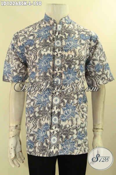 Jual Baju Batik Kerja Pria Lengan Pendek Kerah Shanghai, Kemeja Batik Solo Asli Motif Bagus Jenis Cap, Tampil Lebih Gagah Menawan [LD12268CK-L]