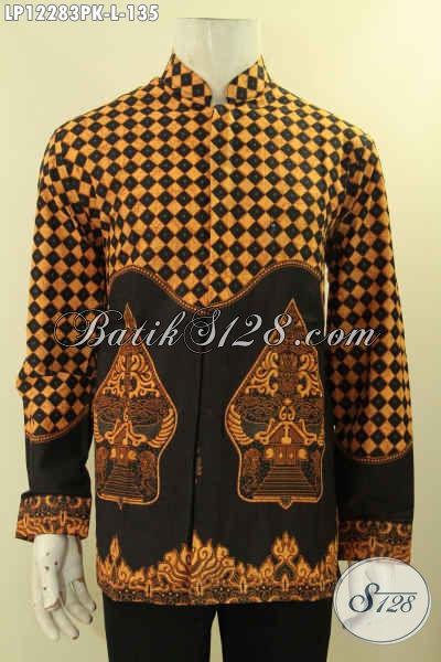 Batik Kemeja Pria Lengan Panjang Motif Klasik, Busana Batik Terkini Model Kerah Shanghai Jenis Print Yang Menunjang Penampilan Pria Terlihat Gagah Berwibawa [LP12283PK-L]