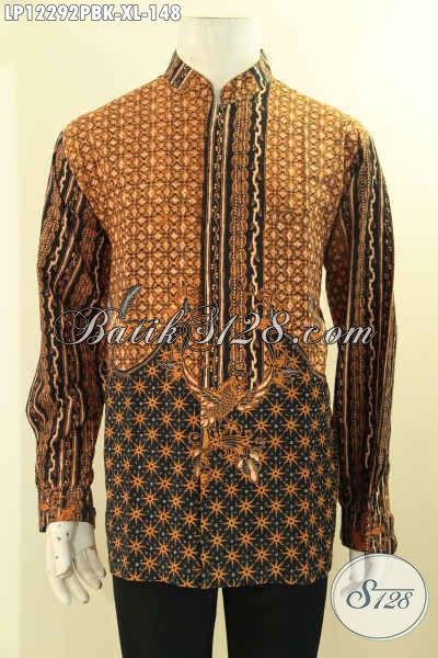 Produk Baju Batik Modern Model Kerah Shanghai Nan Elegan, Kemeja Batik Lengan Panjang Motif Klasik Proses Print Cabut Pas Banget Untuk Acara Resmi [LP12292PBK-XL]