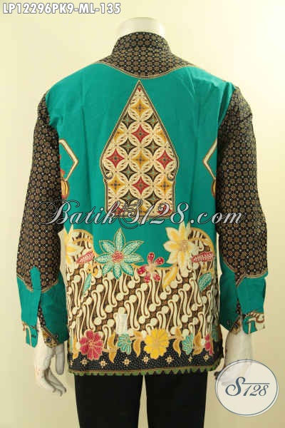 Koleksi Terbaru Pakaian Batik Pria Model Kerah Koko Shanghai Lengan Panjang Motif Mewah, Busana Batik Istimewa Untuk Penampilan Gagah Dan Sempurna [LP12296PK-L]