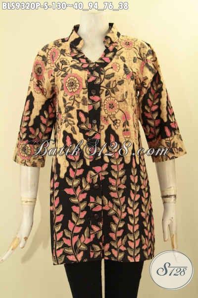 Blouse Batik Wanit Muda Hadir Dengan Kerah Shanghai, Busana Batik Modern Motif Bagus Lengan 3/4 Kwalitas Istimewa [BLS9320-S]