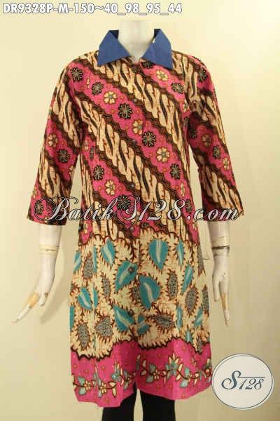 Dress Batik Lengan Panjang 7/8, Busana Batik Istimewa Motif Terbaru Model Kerah Polos Di Lengkapi Kancing Depan, Cocok Juga Buat Ke Pernikahan [DR9328P-M]