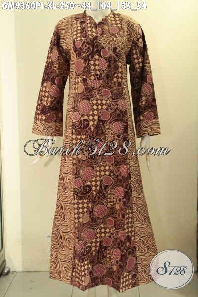 Gamis Batik Solo Nan Mewah Dan Berkelas, Produk Batik Gamis Wanita Masa Kini Desain Mewah Kombinasi 2 Motif Di Lengkapi Resleting Depan Tampil Cantik Menawan [GM9360PL-XL]