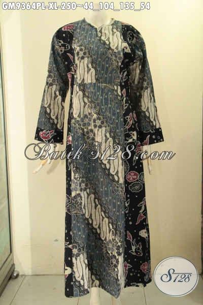 Koleksi Terbaru Gamis Batik Asli Buatan Solo Produk Pakaian Batik Wanita Berhijab Untuk Tampil Cantik Mempesona Model Resleting Depan Kombinasi 2 Motif Gm9364pl Xl Toko Batik Online 2021