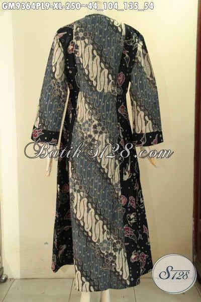 Koleksi Terbaru Gamis Batik Asli Buatan Solo, Produk Pakaian Batik Wanita Berhijab Untuk Tampil Cantik Mempesona, Model Resleting Depan Kombinasi 2 Motif [GM9364PL-XL]