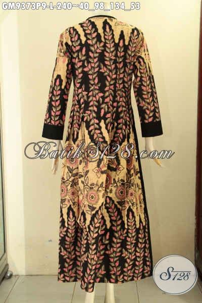 Produk Gamis Batik Desain Keren Motif Berkelas Berpadu Dengan Kain Polos Yang Memberikan Cita Rasa Mewah, Gamis Batik Model Kancing Depan Untuk Acara Santai Maupun Resmi [GM9373P-L]