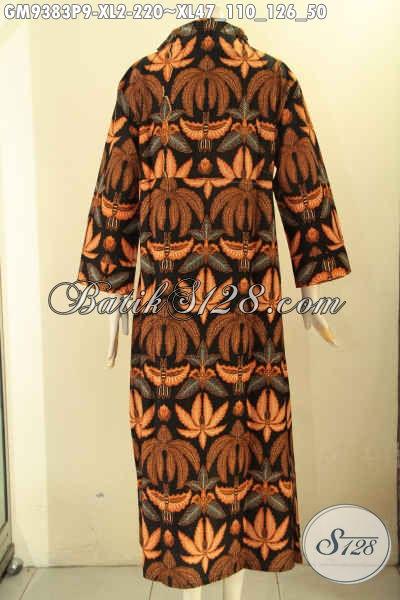 Jual Busana Gamis Mdoel Resleting Depan Bahan Batik Solo Motif Elegan Jenis Print, Bisa Untuk Kerja Dan Ke Kondangan [GM9383P-XL]