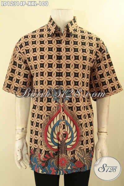 Baju Batik Lengan Pendek Pria Gemuk, Busana Batik Kemeja Motif Elegan Dengan Sentuhan Klasik Proses Print, Cocok Buat Ke Kondangan Maupun Acara Resmi [LD12314P-XXL]