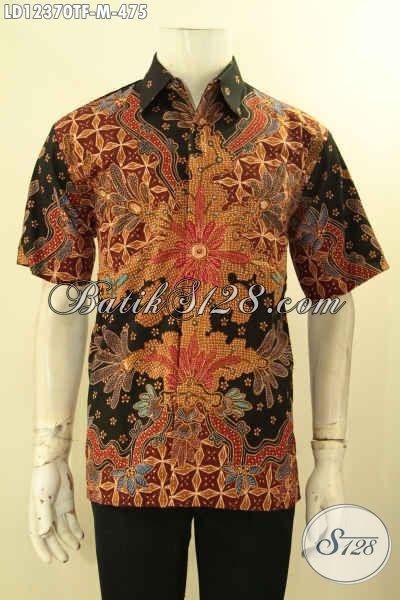 Kemeja Batik Pria Muda Untuk Kerja Jenis Tulis, Baju Batik Lengan Pendek Full Furing Hadir Dengan Motif Mewah Dan Keren Penampilan Lebih Tampan Dan Gagah [LD12370TF-M]