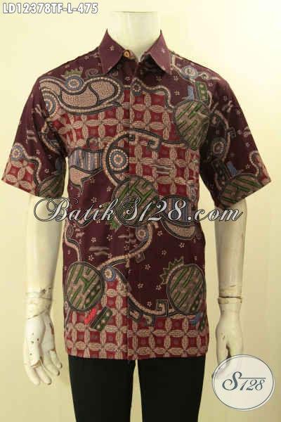 Baju Batik Kerja Pria Terbaru Motif Bagus Jenis Tulis, Kemeja Batik Mewah Lengan Pendek Full Furing Hanya 400 Ribuan [LD12378TF-L]