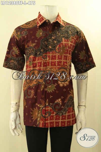 Kemeja Batik Tulis Lasem Nan Mewah Dan Berkelas, Baju Batik Lengan Pendek Full Lapisan Furing Cocok Untuk Kerja Kantora Dan Kondangan [LD12380TF-L]