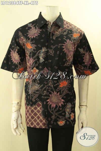 Produk Busana Batik Pria Masa Kini, Kemeja Batik Lengan Pendek Tulis Lasem Kwalitas Istimewa Pakai Furing, Pilihan Terbaik Tampil Menawan [LD12384TF-XL]