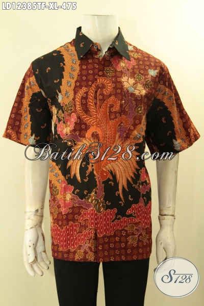 Kemeja Batik Pria Lengan Pendek Terbaru, Baju Batik Elegan Motif Mewah Tulis Lasem Bahan Yang Nyaman Di Pakai [LD12385TF-XL]