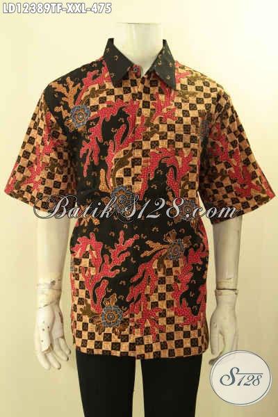 Kemeja Batik Tulis Lasem Model Lengan Pendek Motif Elegan Spesial Buat Pria Gemuk, Busana Batik Istimewa Buat Kerja Muapun Ke Kondangan [LD12389TF-XXL]