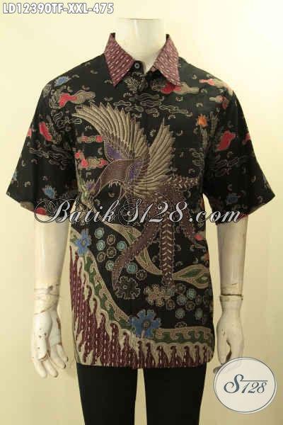 Baju Batik Halus Lengan Pendek Istimewa, Kemeja Batik Premium Pria Gemuk Pakai Furing Motif Terkini Proses Tulis Lasem, Pas Untuk Acara Resmi [LD12390TF-XXL]