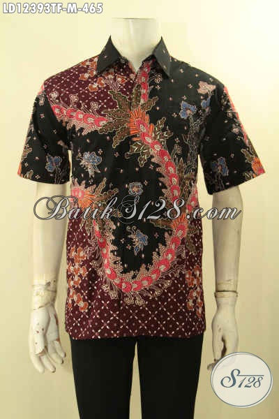 Baju Batik Kerja Pria Kantoran Lengan Pendek Tulis Daleman Full Furing, Cocok Juga Untuk Kondangan [LD12393TF-M]