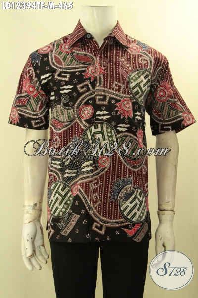 Baju Batik Pria Lengan Pendek Tulis Motif Keren Tren Masa Kini, Kemeja Batik Halus Mewah Pakai Furing Bikin Pria Tampil Lebih Gagah [LD12394TF-M]