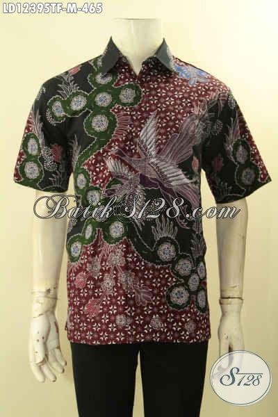 Jual Online Kemeja Lengan Pendek Mewah Batik Tulis Lengan Pendek Asli Buatan Solo, Baju Batik Pria Muda Yang Modis Untuk Kerja Dan Santai [LD12395TF-M]