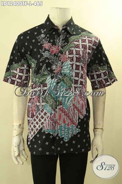 Batik Kemeja Pria Lengan Pendek Halus Kwalitas Premium, Busana Batik Solo Asli Jenis Tulis Full Furing, Penampilan Lebih Sempurna Dan Menawan [LD12400TF-L]