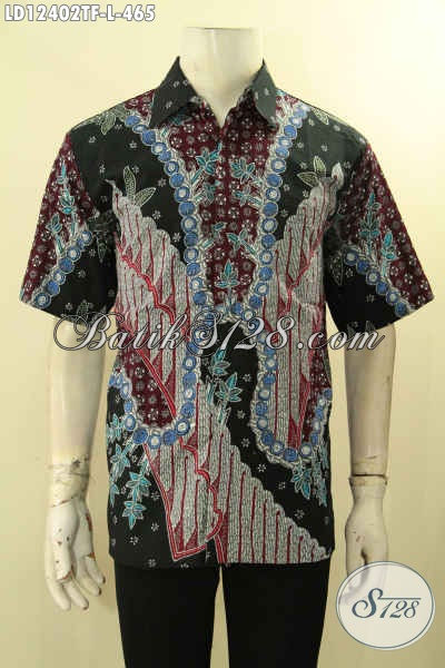 Model Baju Batik Pria Tren Masa Kini, Busana Batik Solo Asli Lengan Pendek Full Furing Kwalitas Istimewa, Pilihan Tepat Untuk Tampil Sempurna Dan Berkelas [LD12402TF-L]