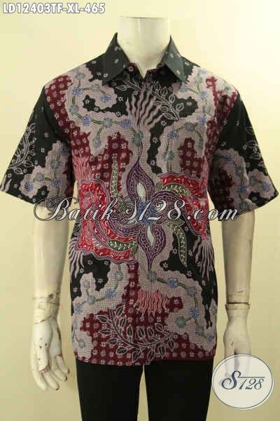 Jual Kemeja Batik Tulis Premium Lengan Pendek Moti Terbaru, Pakaian Batik Kemeja Pria Yang Bikin Penampilan Gagah Dan Mewah Daleman Full Furing [LD12403TF-XL]