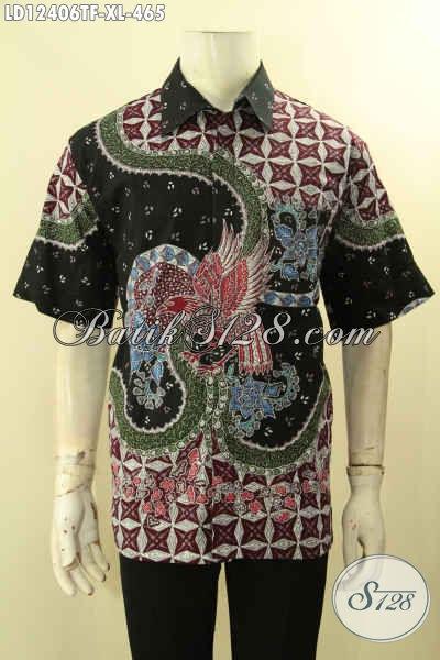 Kemeja Batik Solo Lengan Pendek Size XL, Busana Batik Tulis Mewah Pakai Furing Untuk Pria Dewasa Tampil Gagah Mempesona [LD12406TF-XL]