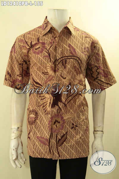 Kemeja Batik Pria Lengan Pendek Halus Khas Solo Jawa Tengah Cocok Untuk Seragam Kerja Dan Busana Kondangan [LD12410PB-L]