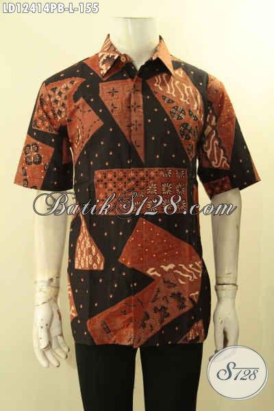 Model Baju Batik Pria Lengan Pendek Terbaru, Hadir Dengan Motif Unik Dengan Paduan Warna Yang Elegan, Bisa Untuk Santai Maupun Resmi [LD12414PB-L]