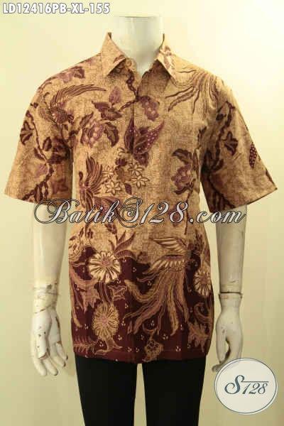 Baju Batik Pria Terbaru Yang Bikin Penampilan Gagah Dan Tampan, Kemeja Lengan Pendek Halus Motif Terbaru Jenis Print Asli Buatan Solo [LD12416PB-XL]