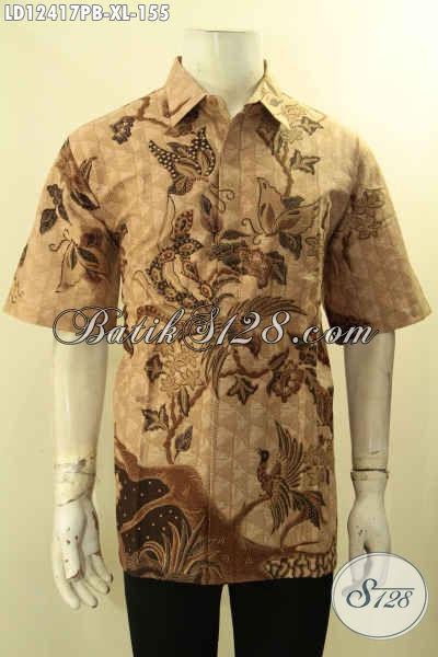 Baju Batik Pria Khas Solo Motif Terbaru, Busana Batik Keren Model Lengan Pendek Yang Bikin Penampilan Pria Lebih Mempesona [LD12417PB-XL]