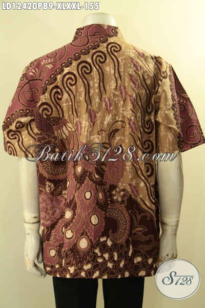 Aneka Baju Batik Pria Lengan Pendek Kwalitas Bagus Harga Terjangkau, Kemeja Batik Solo Asli Yang Modis Untuk Acara Santai Maupun Resmi [LD12420PB-XL , XXL]