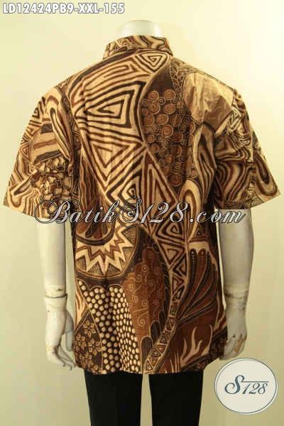 Kemeja Batik Jumbo Spesial Untuk Lelaki Gemuk, Baju Batik Modern Lengan Pendek Motif Unik Jenis Printing Cabut, Jual Online 155K [LD12424PB-XXL]