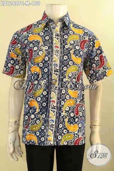 Produk Kemeja Batik Pria Keren Motif Unik Model Lengan Pendek, Baju Batik Solo Jenis Cap Pas Buat Hangout Dan Jalan-Jalan [LD12427C-M]