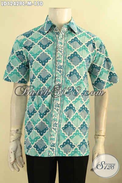 Baju Batik Murah Meriah Buatan Solo Asli, Kemeja Batik Lengan Pendek Trendy Warna Cerah Motif Tren Masa Kini Jenis Cap [LD12429C-M]