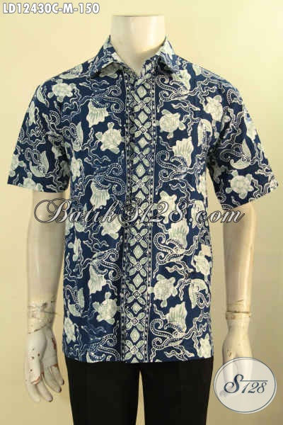 Busana Batik Solo Lengan Pendek Halus Warna Biru Motif Modern Kwalitas Istimewa Harga 100 Ribuan Saja, Cocok Untuk Kerja [LD12430C-M]