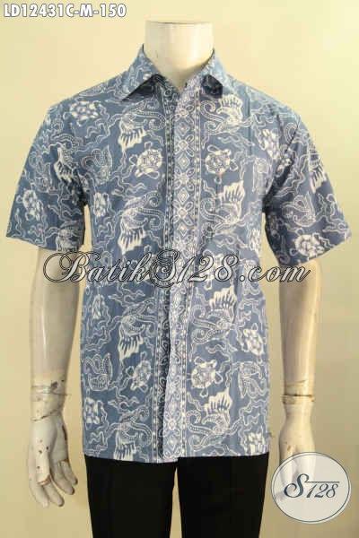 Hem Batik Casual Pria Model Lengan Pendek Size M, Busana Batik Halus Motif Kekinian, Istimewa Untuk Santai Maupun Resmi [LD12431C-M]