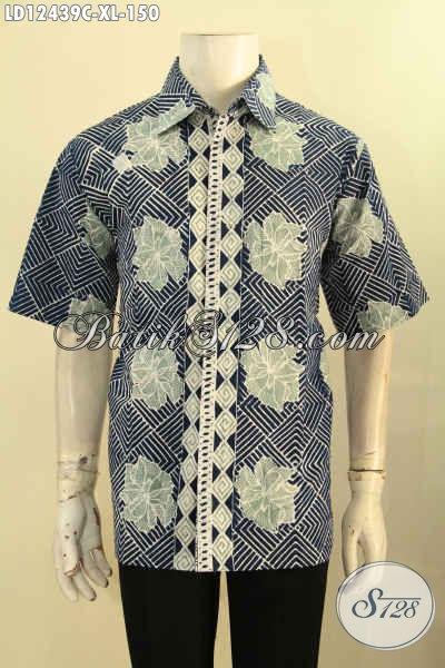 Baju Batik Pria Murah Online Khas Solo, Kemeja Batik Modern Motif Elegan Jenis Cap Model Lengan Pendek, Penampilan Terlihat Lebih Menawan [LD12439C-XL]