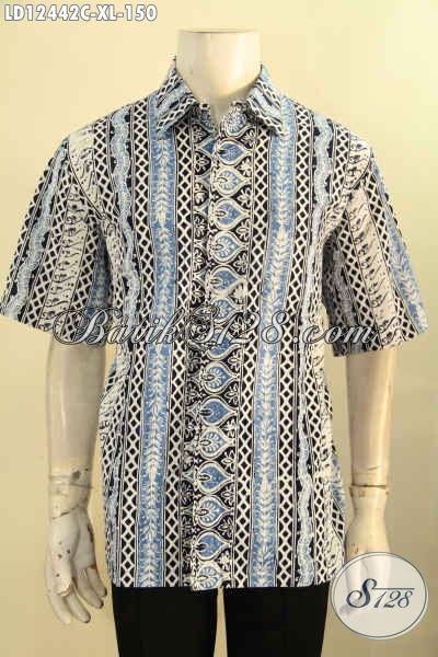 Baju Batik Terbaru Model Lengan Pendek Pria Dewasa Motif Bagus Jenis Cap, Pakaian Batik Kerja Dan Acara Resmi Menunjang Penampilan Lebih Gagah Dan Gaya [LD12442C-XL]