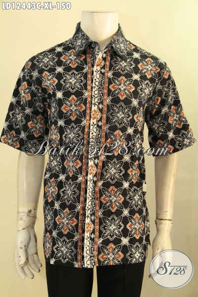 Baju Batik Pria Lengan Pendek Buatan Solo Asli, Kemeja Batik Keren Motif Modern Proses Cap, Bisa Untuk Seragam Kerja Maupun Acara Resmi [LD12443C-XL]