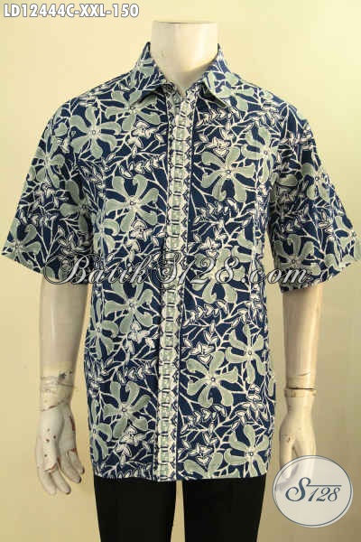 Kemeja Batik Jumbo Lengan Pendek Untuk Pria Gemuk, Baju Batik Halus Motif Tren Masa Kini Jenis Cap Harga Murah Meriah [LD12444C-XXL]