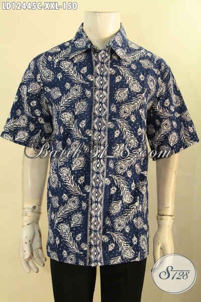 Kemeja Batik Solo Lengan Pendek Istimewa Kwalitas Bagus Bahan Halus Motif Elegan Jenis Cap, Pakaian Batik Modern Untuk Pria Gemuk Tampil Gagah Dan Keren [LD12445C-XXL]